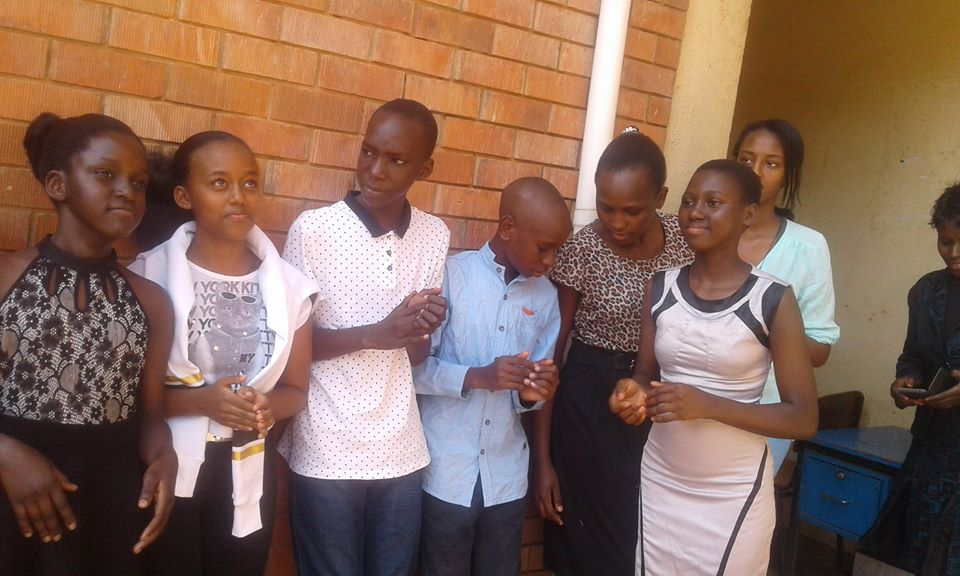 Pupils at the school, celebrating PLE results.
